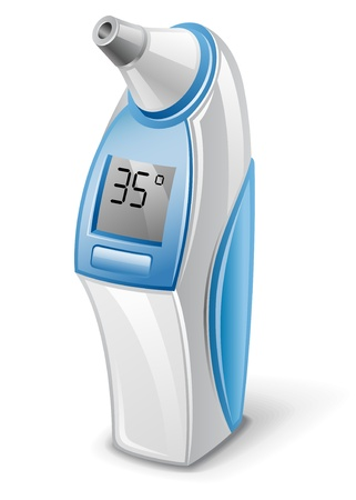 temperature: Vector illustration of ear electric thermometer on white background