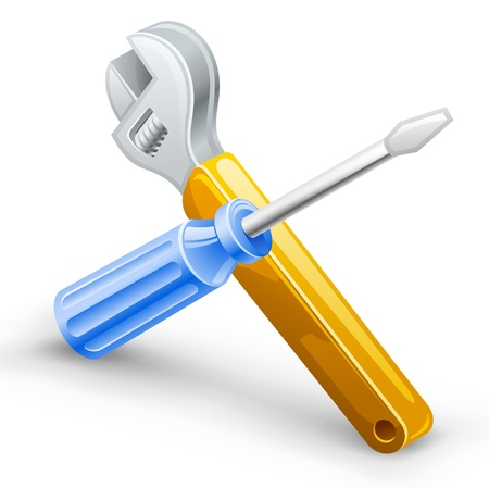 Vector illustration of screwdriver, spanner on white background.  Vector
