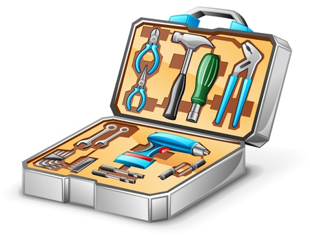 tool boxes: Vector illustration of tool kit on white background