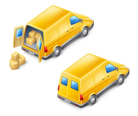 Vector illustration of delivery van on white background.