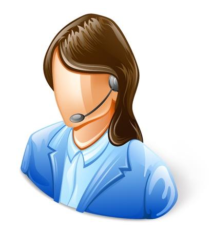 donna con telefono: Illustrazione vettoriale di Rappresentante del servizio clienti su sfondo bianco.