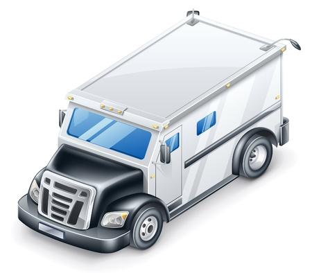 mode of transportation: Illustrazione vettoriale di camion blindato su sfondo bianco.