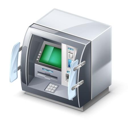atm card: Ilustraci�n vectorial de cajero autom�tico en el fondo blanco.