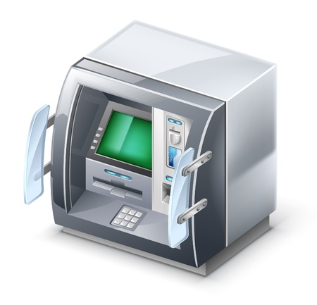 Vector illustration of ATM machine on white background.