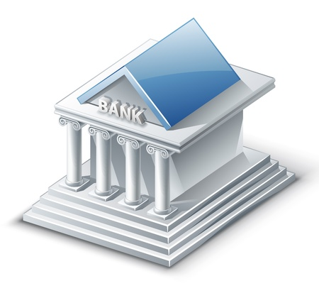 Vector illustration of bank building on white background.