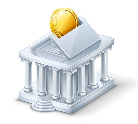 Vector illustration of bank building — moneybox on white background. Vector