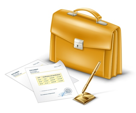 Vector illustration of business briefcase with documents and pen on white background. Vector