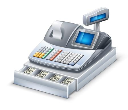 Illustrazione vettoriale di registratore di cassa su sfondo bianco. Vettoriali