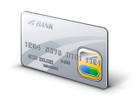 personal banking: Illustrazione vettoriale di carta di credito su sfondo bianco.