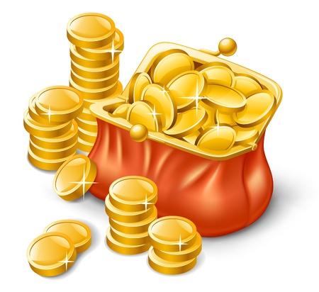 Ilustración vectorial de la cartera llena de monedas en el fondo blanco