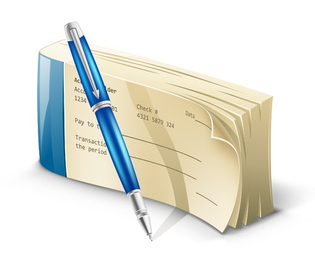 blank check: Vector illustration of checkbook with pen on white background.