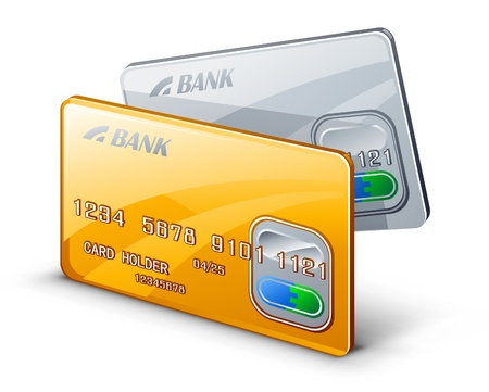 credit card debt: Vector illustration credit cards on white background.