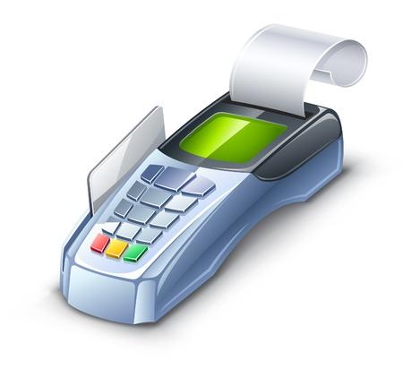 atm card: Ilustraci�n vectorial de lector de tarjetas de cr�dito en el fondo blanco. Vectores