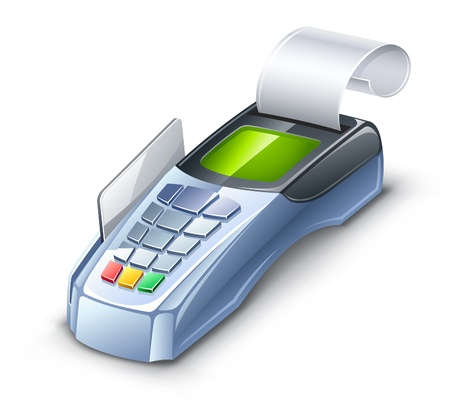 Vector illustration of credit card reader on white background. Vector