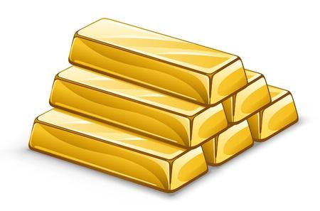 Illustrazione vettoriale di lingotti d'oro su sfondo bianco. Vettoriali