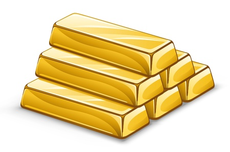 Vector illustration of gold ingots on white background.