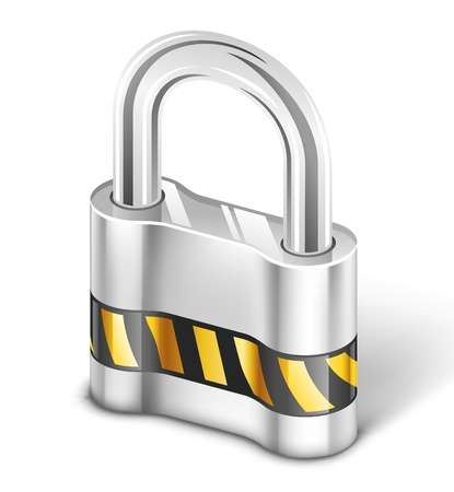 Vector illustration of padlock on white background. Illustration
