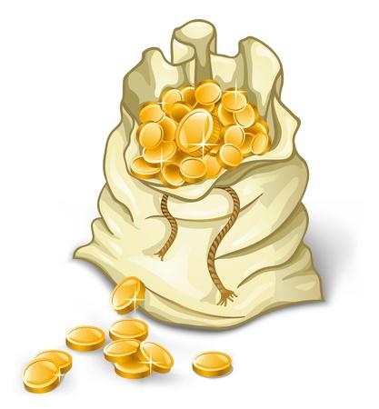 Bag of gold coins: Vector hình minh họa của túi tiền trên nền trắng Hình minh hoạ