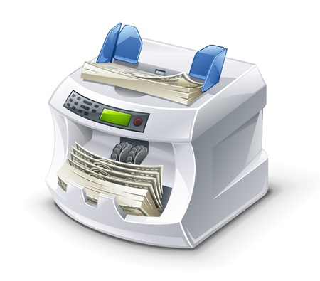 Vector illustration of money counting machine on white background.