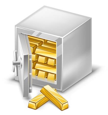 Vector illustration of opened safe with gold ingots on white background. Vector