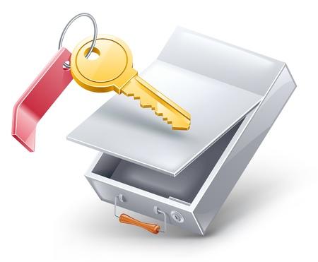 Vector ilustración de la caja fuerte con llave en el fondo blanco.