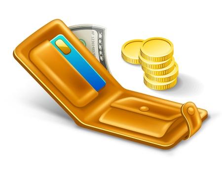 us coin: Ilustraci�n vectorial de la cartera en el fondo blanco