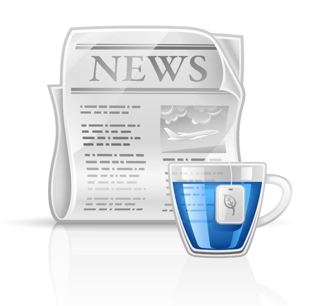 Vector illustration newspaper with cup of tea on white background Vector