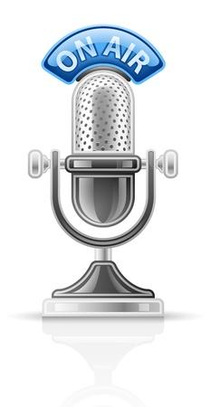 microfono de radio: Ilustración del vector del micrófono en el fondo blanco