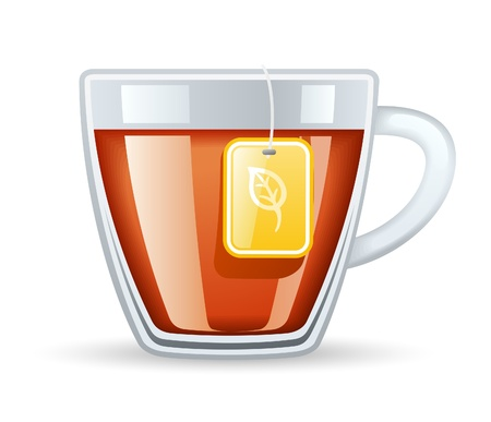 teabag: Vector illustration cup of tea on white background.