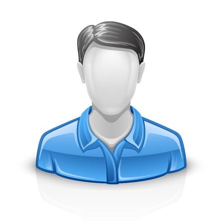 avatars: Illustrazione vettoriale di uomo d'uso su sfondo bianco. Vettoriali