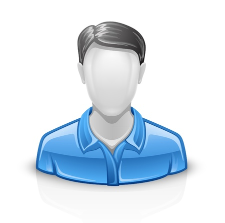 Vector illustration of user man on white background.  Vector