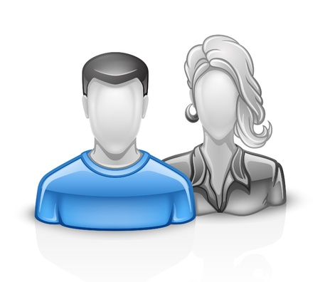 grey hair: Vector illustration of users icon man woman on white background.