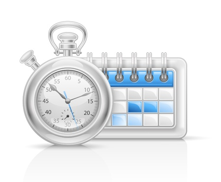 Vector illustration of calendar clock icon on white background.  Vector