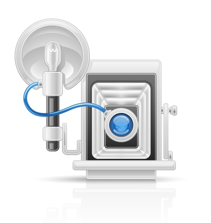 Vector illustration of old camera on white background. Vector