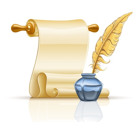 inkpot: of paper scroll with feather pen and ink pot on white background. Illustration