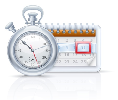 illustration of chronometer and calendar on white background. Vector