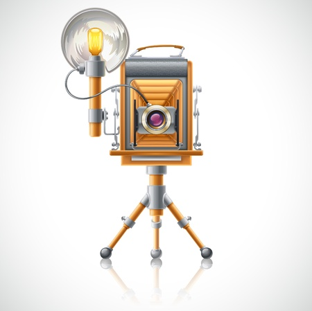 illustration of old camera on white background. Vector