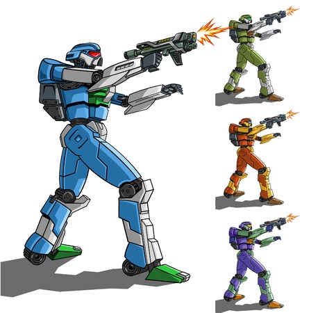 illustration of robot with weapon.
