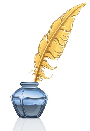 illustration of feather and ink pot on white background.
