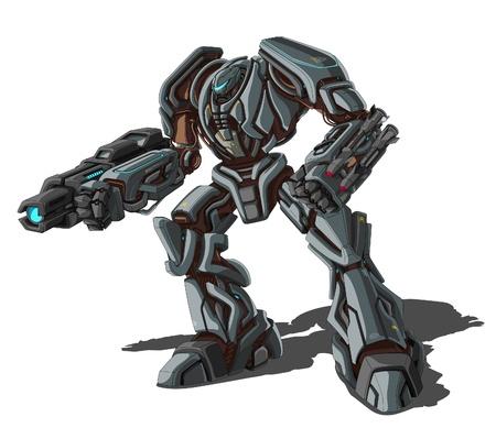 cyborg: illustration of robot on white background. Illustration