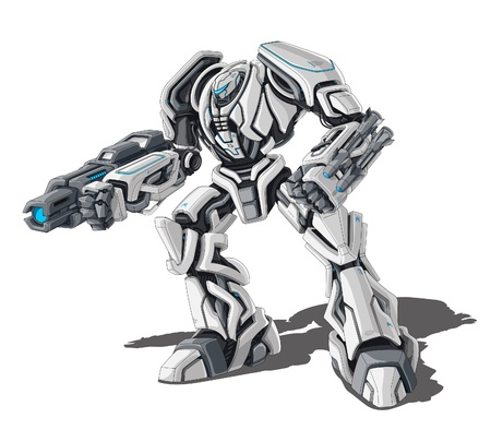 robot: ejemplo de robot sobre fondo blanco. Vectores