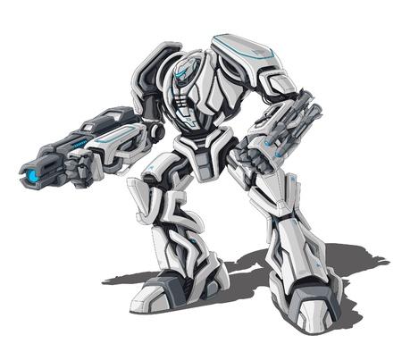 cartoon soldat: Illustration der Roboter auf weißem Hintergrund.