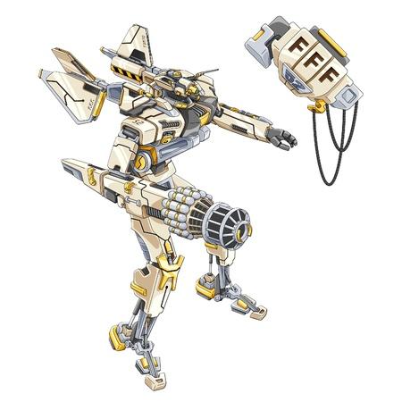 illustration of fighter on white background. Illustration