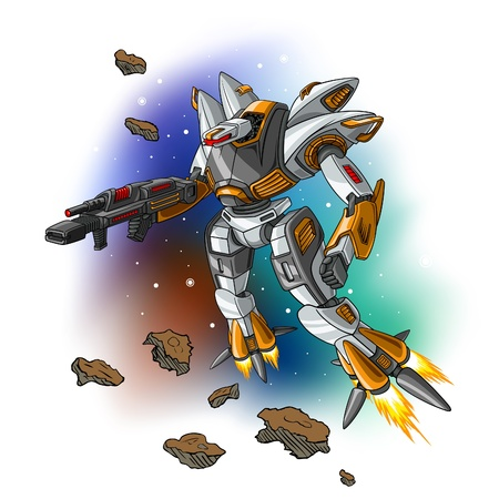illustration of space flying robot.