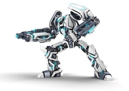 robot: Biały Robot 3d z bronią na białym tle.