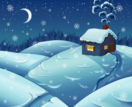 illustration of night snowfall. Vector
