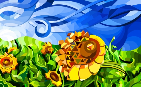 sunflower drawing:  illustration of abstract field with sunflowers