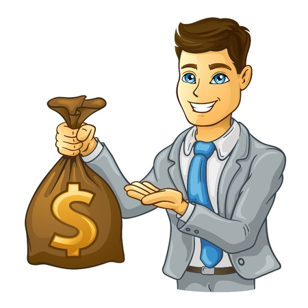illustration of business man holding money bag on white background. Illustration