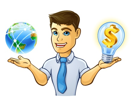 above head: illustration of man having control over planet earth and light bulb on white background.