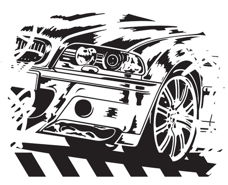 rally car: illustration of car on white background. Illustration